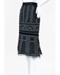 Louis Vuitton   Grey Black Silk Wool Patterned Rhinestone Skirt   Lyst
