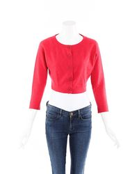 Chanel Cashmere Knit Cropped Cardigan Pink Sz: S