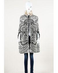 Emilio Pucci Jacquard Badger Fur Cape Black/white Sz: S
