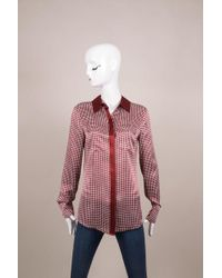 10 Crosby Derek Lam - Dark Red/white Check Print Silk Long Sleeve Blouse - Lyst