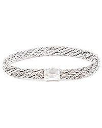 John Hardy Bamboo Twist Sterling Silver Bracelet Silver Sz: - Metallic