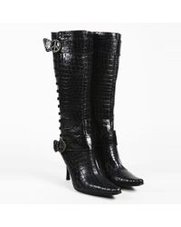 Donald J Pliner - Black Leather Croc Embossed Knee High Pointed Boots - Lyst