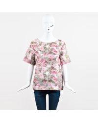 Matthew Williamson - Pink Multicolor Floral Print Ss Top Sz 14 - Lyst