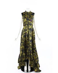 Erdem Floral Brocade Open Back Gown Yellow/green/floral Print Sz: M
