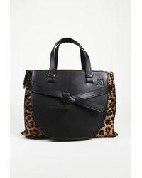 Loewe Gate Animal Print Satchel Bag Black/brown/animal Print Sz: L
