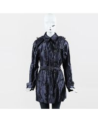 Burberry Brit Metallic Blue Cotton Blend Belted Trench Coat