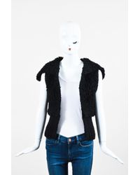 Alexander Wang - Black Wool Shawl Collar Chunky Knit Vest - Lyst