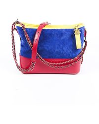 Chanel Medium Gabrielle Quilted Suede Hobo Bag Blue/multicolor Sz: M