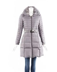 Moncler Fraxinelle Hooded Belted Puffer Coat - Grey