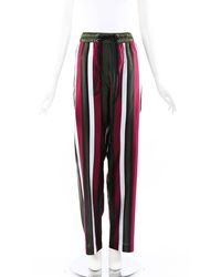 Burberry Striped Silk Drawstring Trousers Green/multicolor Sz: L - Red