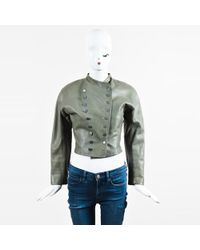Alaïa - Green Leather Double Breasted Cropped Jacket - Lyst