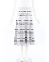 Adam Lippes Fairsle Print Knit Midi Skirt - Blue