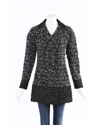 Chanel Tweed Double Breasted Coat - Black