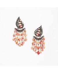Iradj Moini - Coral Citrine & Brass Plated Clip On Chandelier Earrings - Lyst