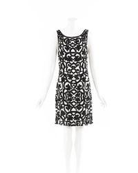 Naeem Khan Sequin Silk Knee Length Dress Black/white/floral Print Sz: L