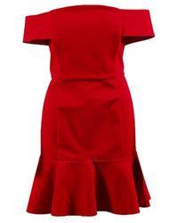 N Nicholas - Red Ponte Knit Mini Off Shoulder Flounce Dress - Lyst