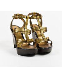 Louis Vuitton - Metallic Gold & Brown Leather Open Toe Wedge Sandals Sz 41 - Lyst