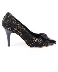Chanel Camellia Tweed Patent Leather Pumps Black Sz: 7