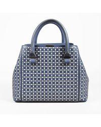 Victoria Beckham Quincy Laser Cut Calfskin Bag - Blue