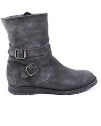 Manolo Blahnik Suede Fur Lined Boots Gray Sz: 7