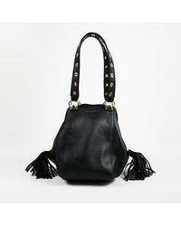 Sonia Rykiel Flore Grained Calfskin Fringe Tote Bag - Black