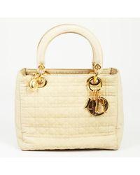 "Dior Vintage ""lady Dior"" Cannage Quilted Nylon Handbag - Natural"