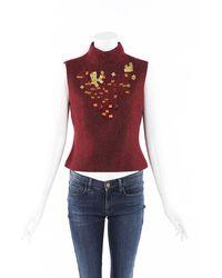 Chanel Vintage Metallic Wool Sequin Top Red Sz: M