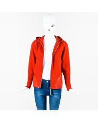 Bottega Veneta - Red Wool Leather Trim Zip Up Hooded Ls Sweater Sz L - Lyst