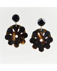 Marni - Black Horn Gold Tone Metal Flower Clip On Earrings - Lyst