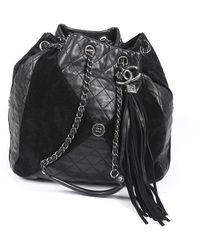 Chanel Patchwork Quilted Goatskin Suede Bucket Bag Black Sz: M