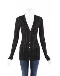 Proenza Schouler Glitter Knit Cardigan Black/metallic Sz: S