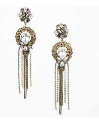Erickson Beamon Brass Tone Crystal Drop Earrings - Metallic
