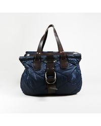 Dries Van Noten Blue & Brown Nylon & Leather Quilted Top Handle Tote Bag