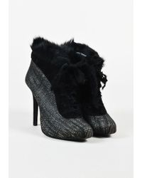 Giambattista Valli | Black Tweed Genuine Rabbit Fur Lace Up Booties | Lyst