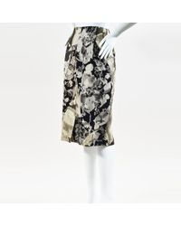 Dries Van Noten - Gray Multi Silk & Wool Floral Pencil Skirt - Lyst