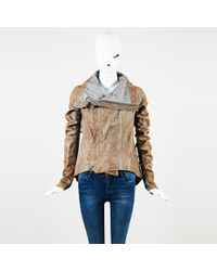Rick Owens - Gray Distressed Leather Ribbed Knit Collared Jacket - Lyst