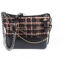 Chanel Medium Gabrielle Tweed Hobo Bag Black/pink Sz: S