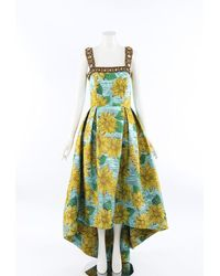 Andrew Gn 2019 Sunflower Brocade Gown - Blue