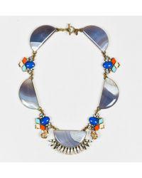 Anton Heunis - Multicolor Gold Tone Metal Resin Half Moon Crystal Necklace - Lyst