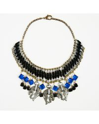 Barneys New York Multicolor Gold Crystal Resin & Metal Cheetah Collar Necklace - Blue