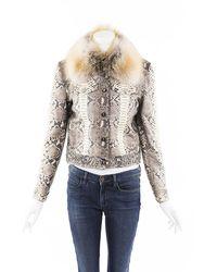 Emilio Pucci Python Fox Fur Jacket Brown/white Sz: L