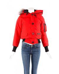 Canada Goose Chilliwack Bomber Fur Trim Hooded Coat - Red