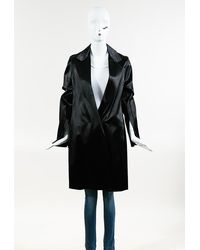 Calvin Klein Collection Black Satin Belted Long Coat Black Sz: Xs