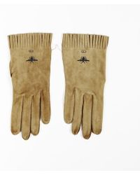 Dior - Light Brown Suede Bee Logo Fringe Gloves - Lyst