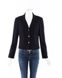 Chanel Vintage Wool Blazer Jacket - Black