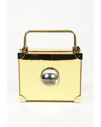 Marzook 2018 Micro Trunk Handbag Gold Sz: M - Metallic