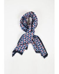 Louis Vuitton | Blue Red Multicolor Linen & Cotton Geometric Print Fringed Scarf | Lyst