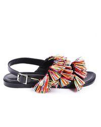 Manolo Blahnik Cuture Fringe Sandals Black/multicolor Sz: 7