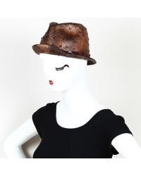 Brunello Cucinelli Woven Straw Fedora - Brown