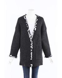 Christopher Kane Sequin Wool Knit Cardigan Gray Sz: M